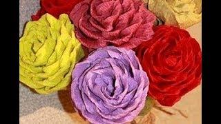 Подарок Маме, Учителю Своими Руками Красивые Цветы Из Бумаги РОЗЫ Цветы Из гофробумаги Поделки МК