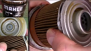 Inside Mahle oil filter made in Austria after 1000km