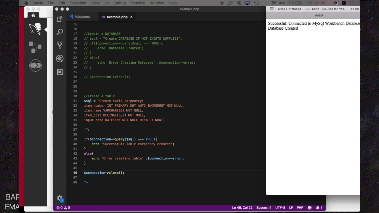 PHP MySQL: create connection & database, insert data into database and  display in HTML