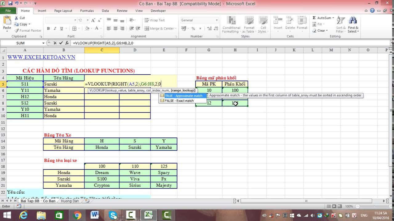 Bài 16: Sử dụng kết hợp nhóm hàm tìm kiếm vlookup, match và index