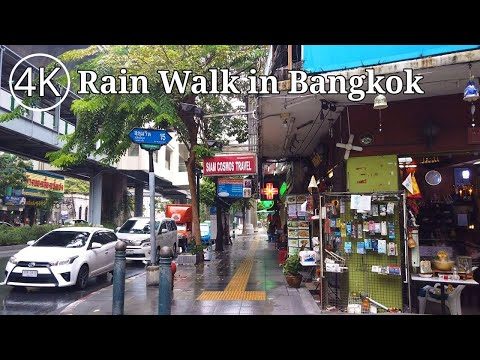 [4K] Walking in the Rain around Asok Area in Bangkok, Thailand