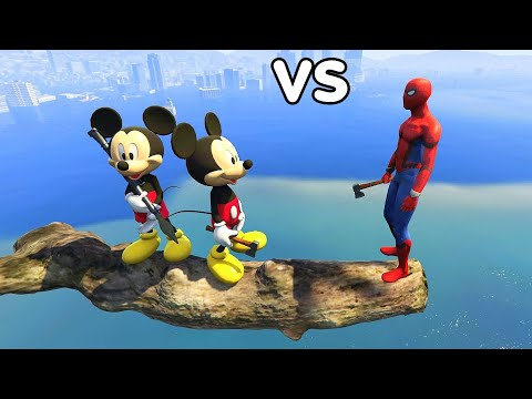 GTA 5 Water Ragdolls Spiderman VS Mickey Mouse Compilation Vol.1 (Euphoria Physics   Funny Moments )