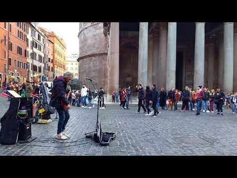 Time - Pink Floyd, by street performer, at Rome, Pantheon