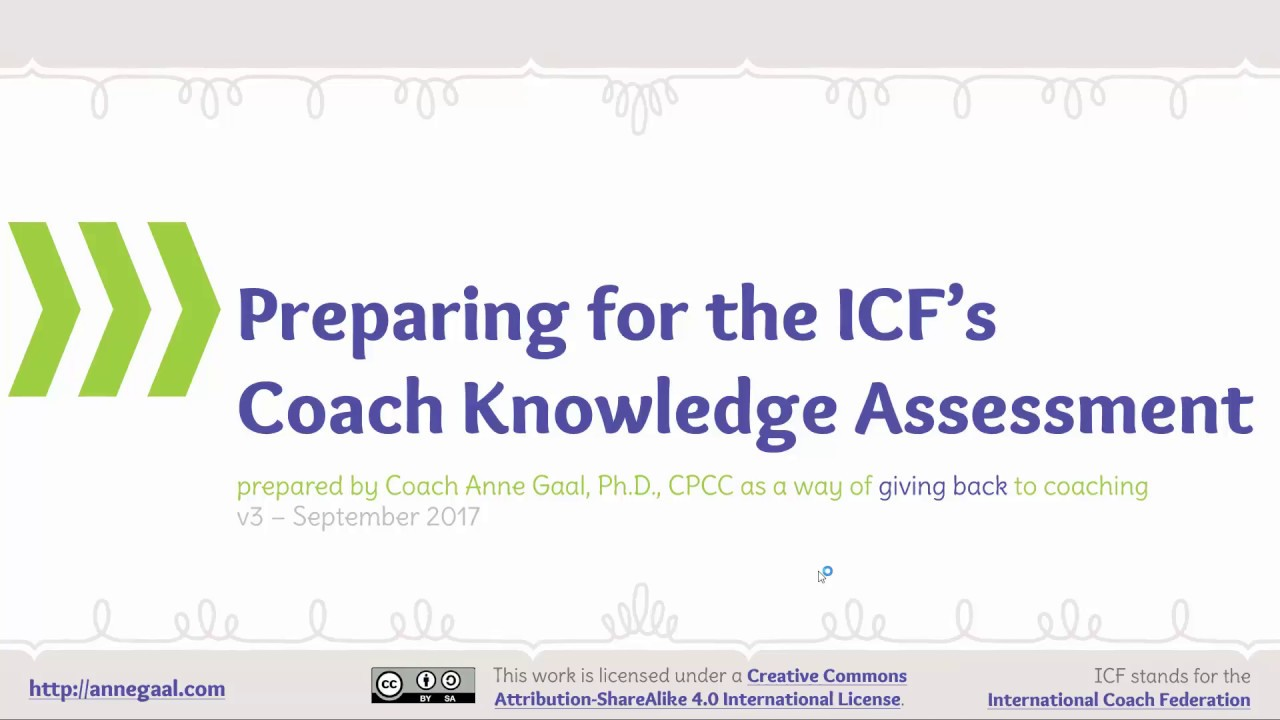 Sample Coach Knowledge Assessment for the International Coach Federation