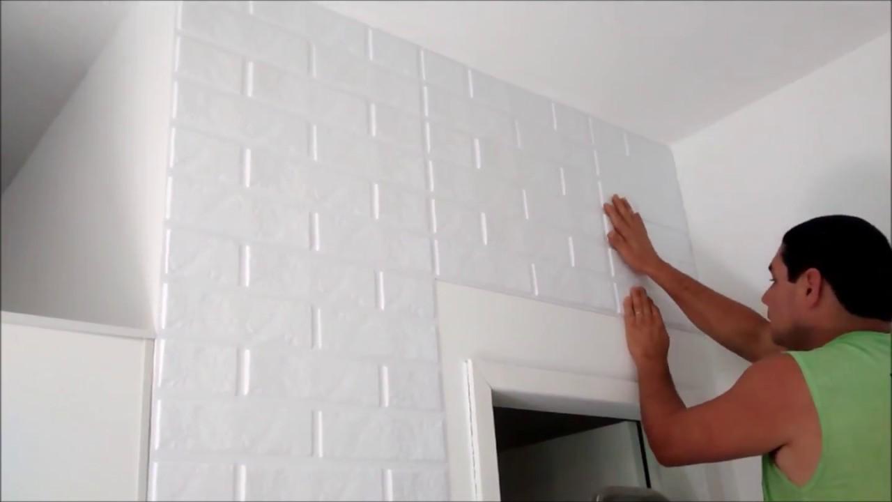 Instala o placas de revestimento 3d autoadesiva youtube for Placas de pvc para paredes