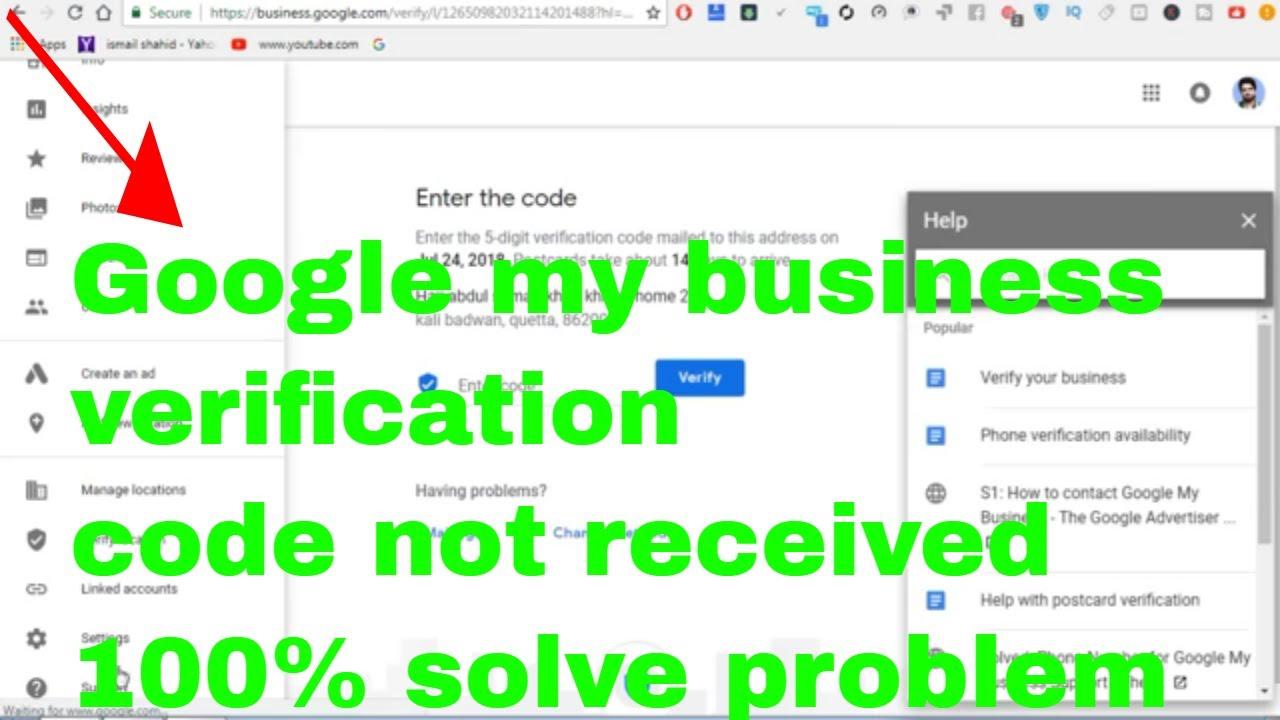 google business verification code not received |