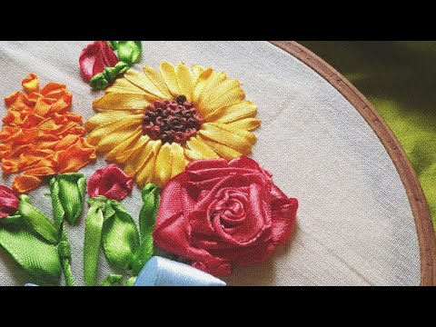 SATIN RIBBON EMBROIDERY FLOWERS | Hand Embroidery Tutorial For Beginners