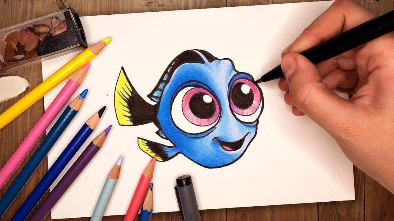 Como Desenhar A Dory Bebe Procurando Nemo Passo A Passo Youtube