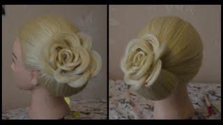 Цветок из волос. Прическа на средние и длинные волосы.(В этом видео я подробно покажу как нужно сделать на средние и длинные волосы