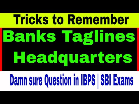 Trick to Remember ALL Banks Taglines & Headquarters| 100% Damn sure 2 Questions in Bank Exams