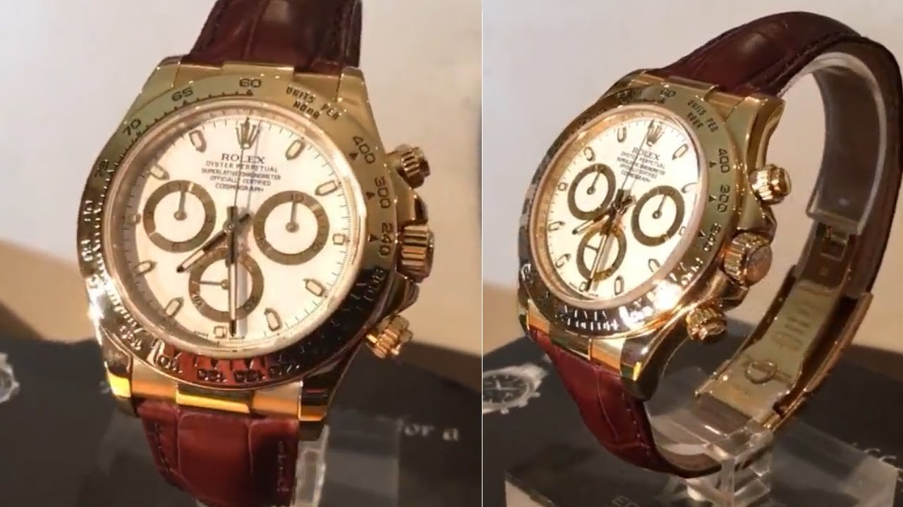 Rolex Daytona 116518 White Dial 40 Mm Leather Strap Yellow Gold