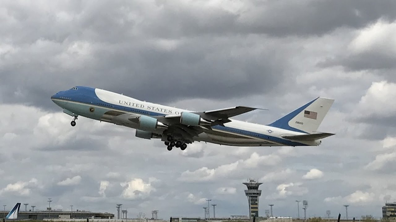 Air Force One Taking Off From Paris Youtube