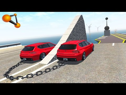 BeamNG.drive - Chained Cars against Ramp