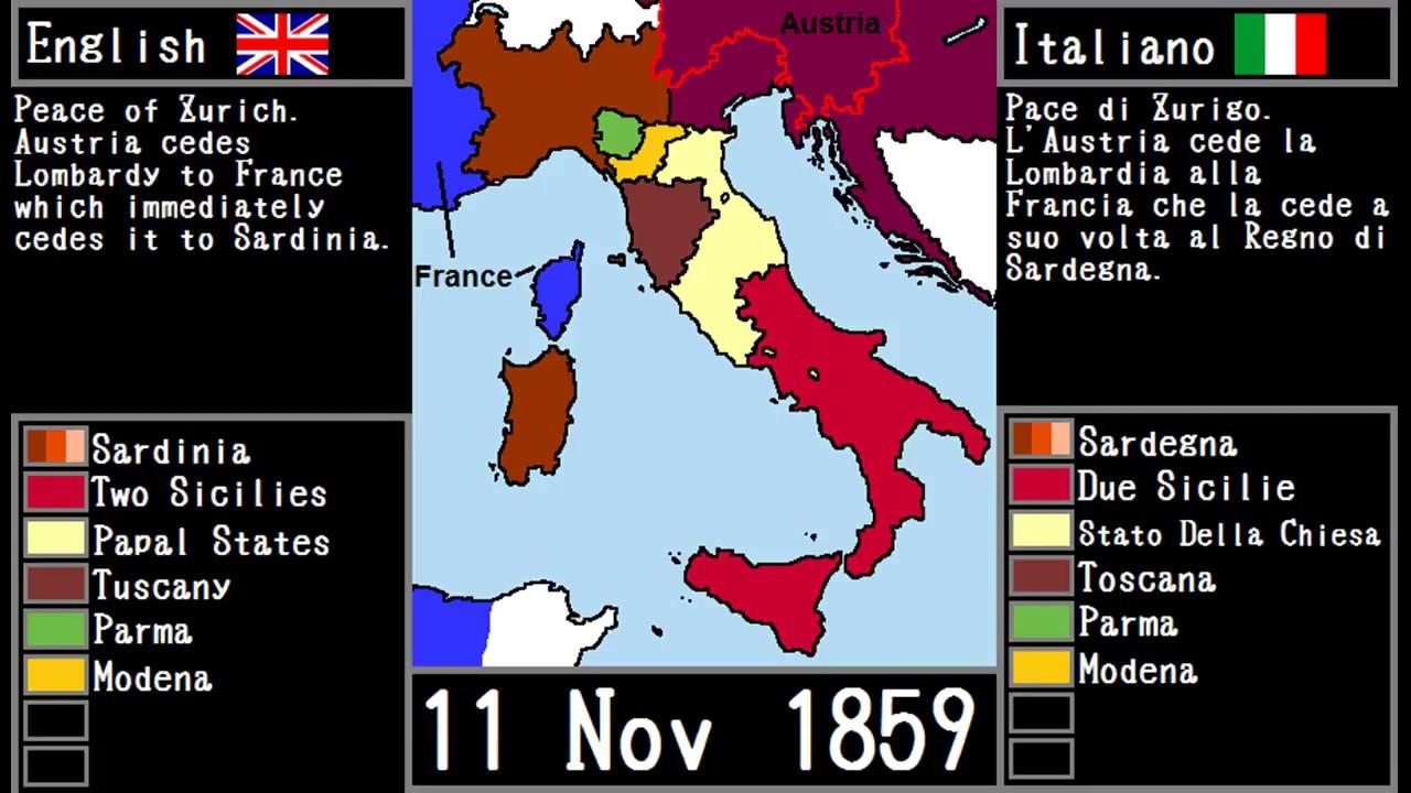 Italian Unification / Risorgimento Italiano on map of italy middle ages, map of italy 1500, map of kingdom of naples and sicily italy, map of italy magna graecia, map of italy history, map of italy map, map of italy renaissance, map of italy sicily sardinia corsica,