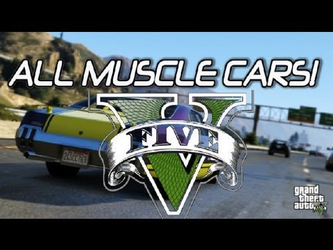Gta V All Muscle Cars Rare Custum Rides Gta Youtube