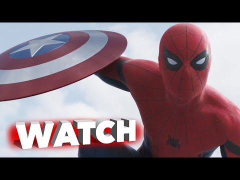 Spiderman takes on Captain America with Iron Man in Captain America: Civil War