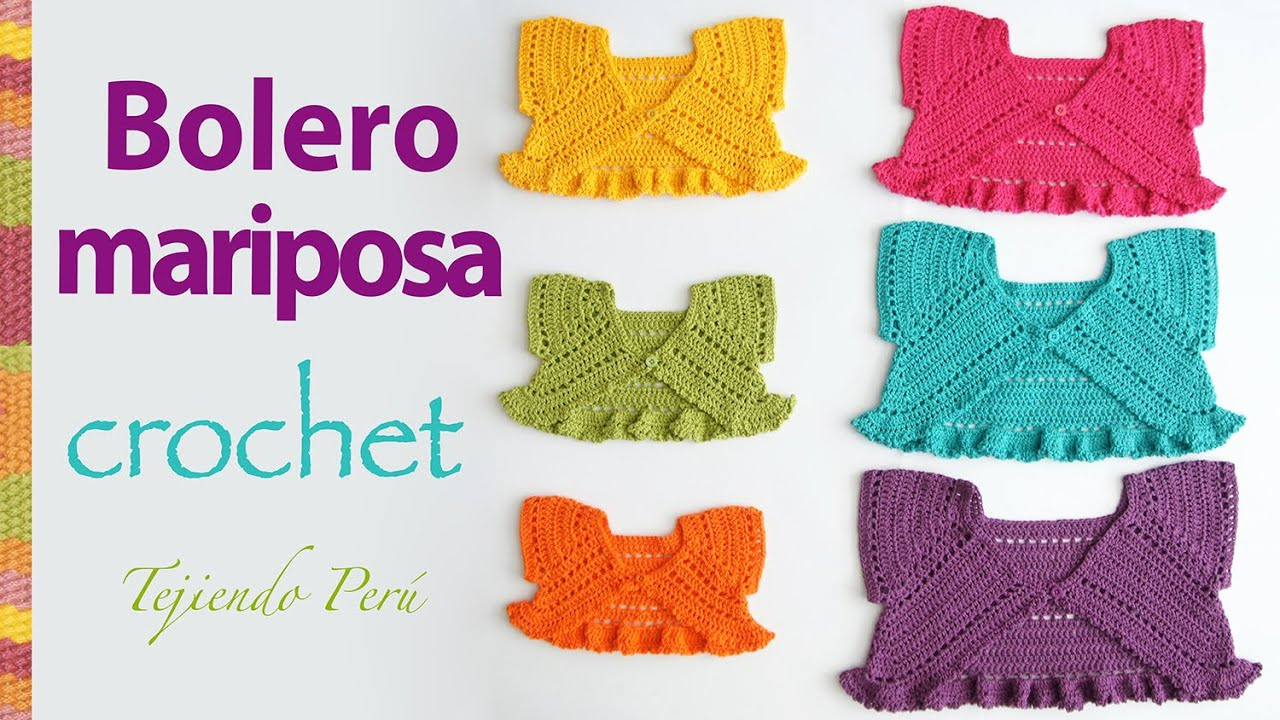 Bolero mariposa o torerita para bebitas y niñas tejido a crochet ...