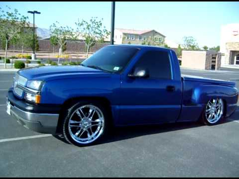 "Custom ""Bagged"" 2003 Blue Silverado On 22"" Wheels"