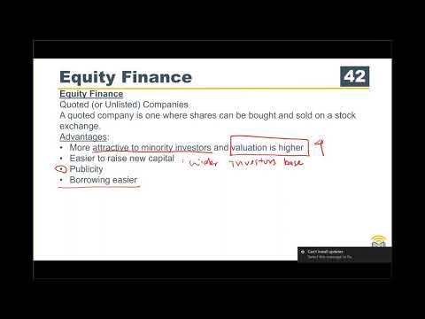 ACCA F9 Course Business Finance 09 Equity Capital and Stock Exchange