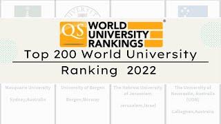 [2022]Top 200 Qs World University Ranking 2022 QS 2022 University Ranking   QS Ranking 2022