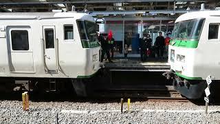 [185系・連結]185系特急・踊り子号、熱海駅での連結作業。