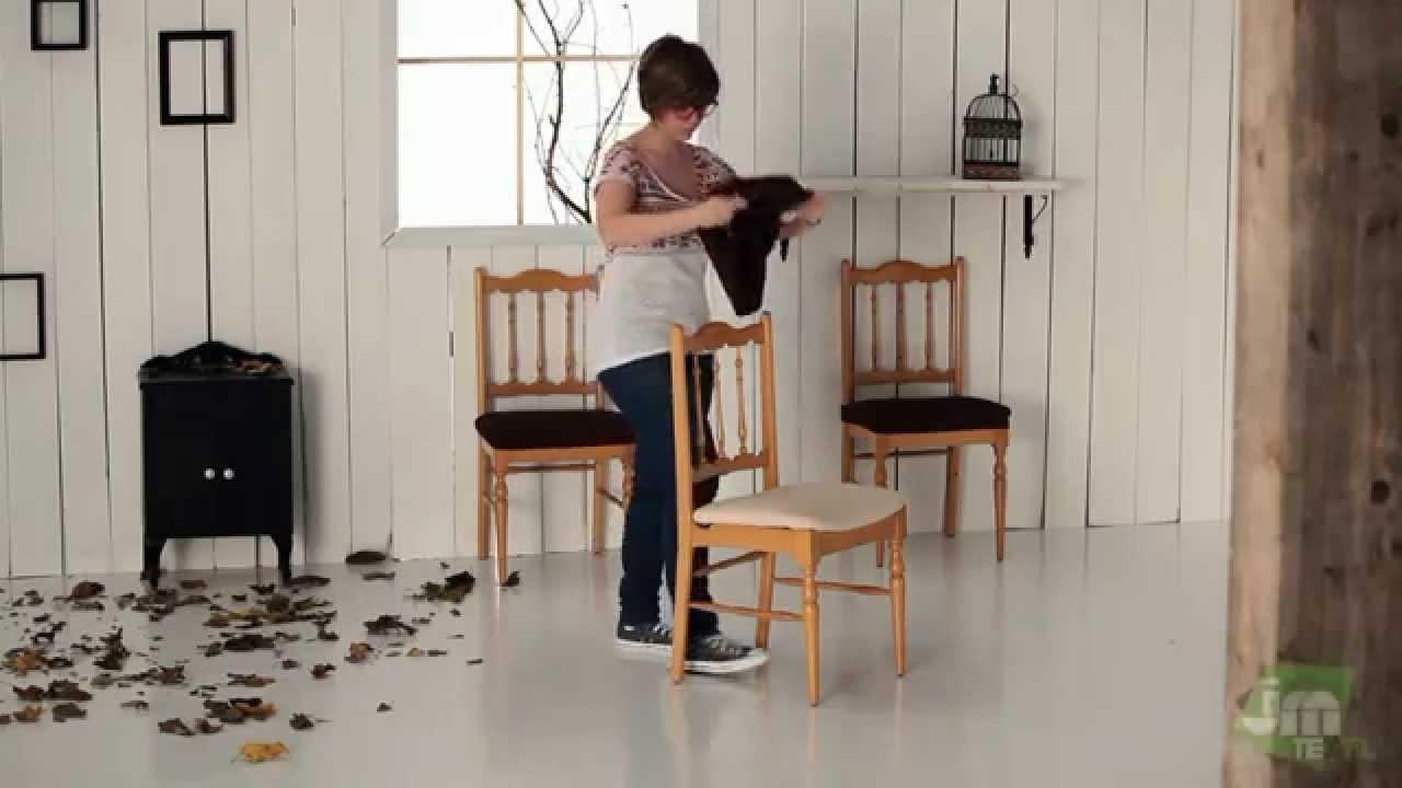 Housse de chaise sans dossier youtube - Como tapizar una silla con respaldo ...