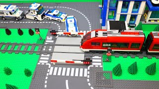 LEGO Trains Road Crossing and Lego City Police Cars & Trucks in Movie for kids