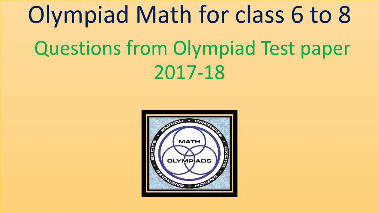 Solved Olympiad Maths Test Paper 2017-18 for class 6