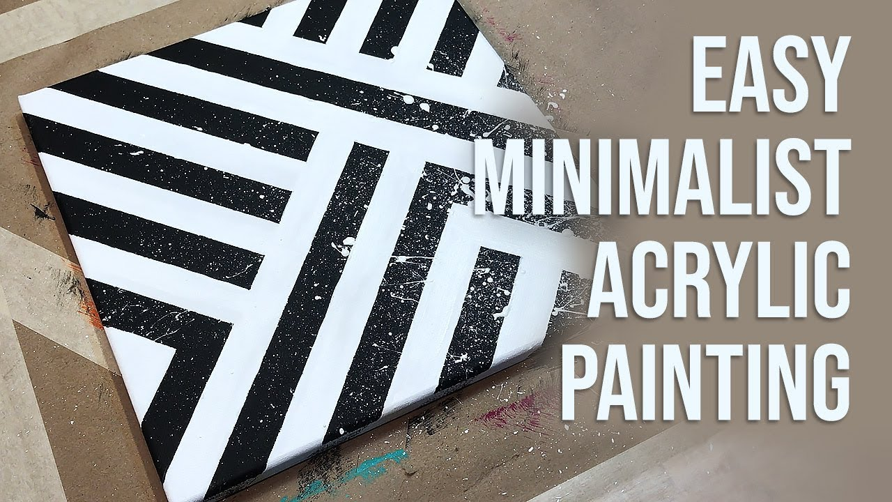 Minimalist Acrylic Painting With Masking Tape Easy Art Demo Daily Diy Painting 054 Youtube