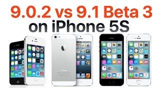 iPhone 5S iOS 9.1 Beta 3 vs iOS 9.0.2