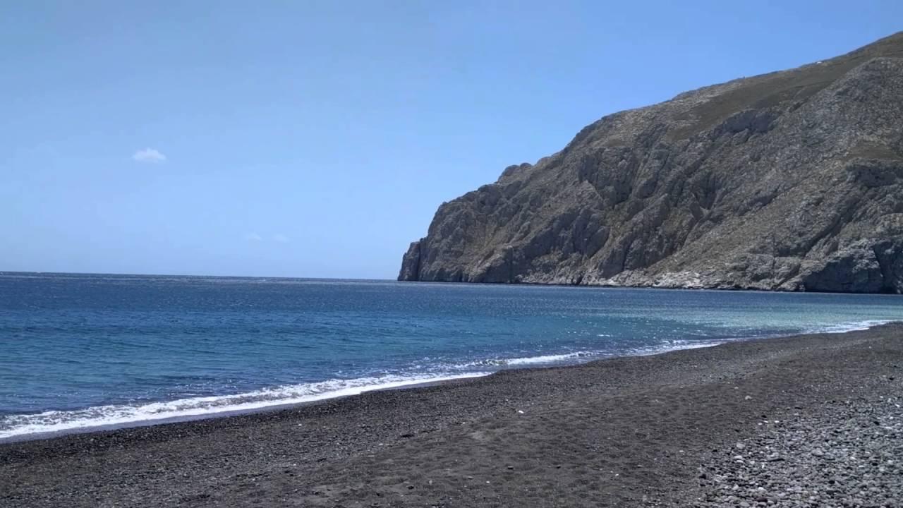 Santorini Black Sand Volcanic Beach In Ri