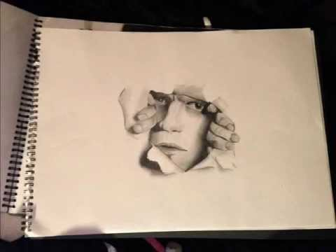 Blue Paper Glass Drawing