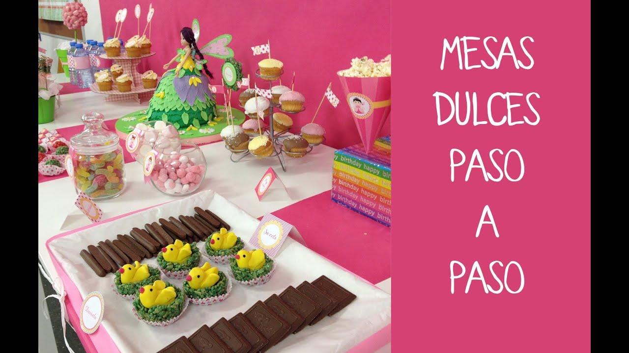 C mo preparar una mesa dulce para fiesta infantil youtube for Como decorar una torta facil y rapido