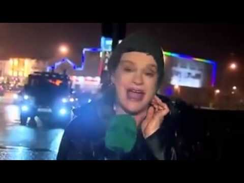 RTÉ Presenter Hit By Sign During Storm Desmond.