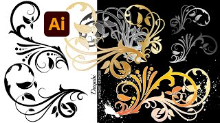 How to draw simple Swirls and Floral Elements with Brushes in Adobe Illustrator