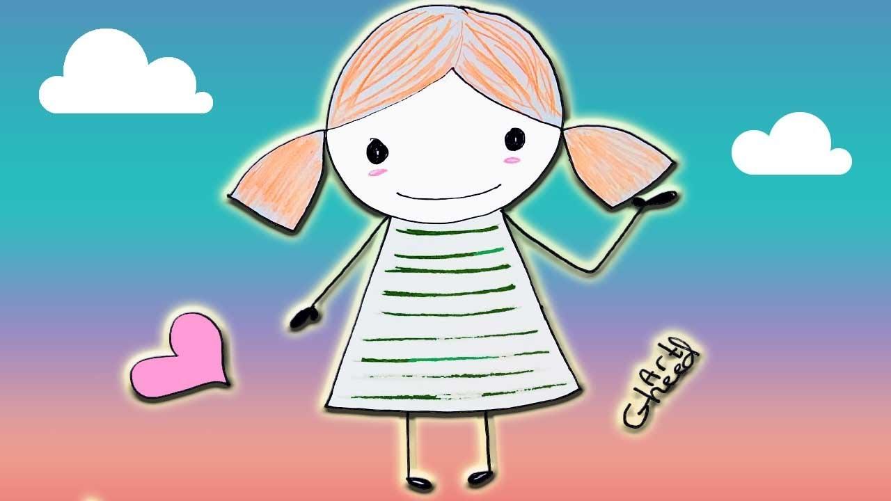 تعليم الرسم للاطفال رسم بنت بخطوات سهلة Youtube