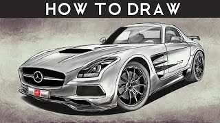 HOW TO DRAW a Mercedes Benz SLS AMG Black Series - Step by Step | drawingpat