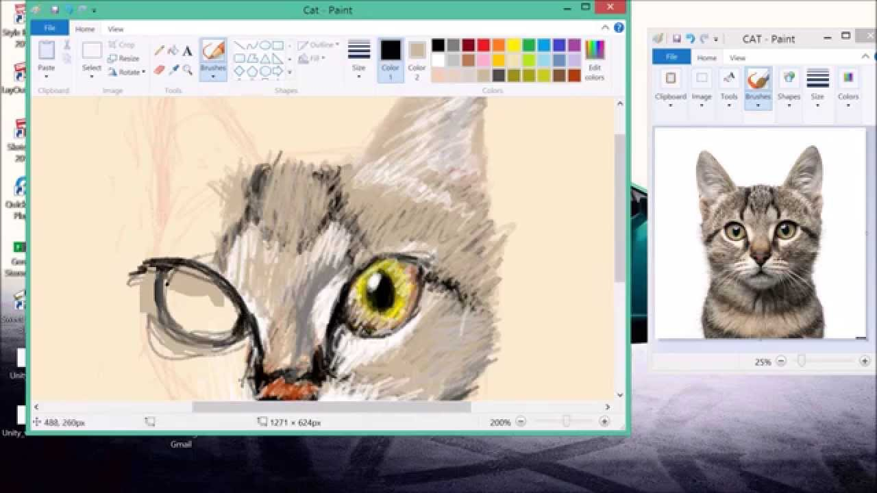 Amazing Microsoft Paint Speed Art Cat Youtube