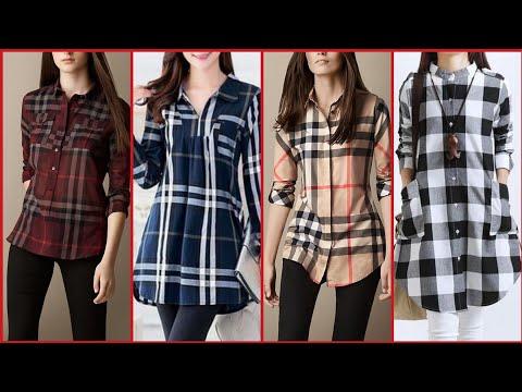 Latest Stylish And Trendy Designer Plaid Print/Check Print Top/Shirts/Kurti Design For College Girls