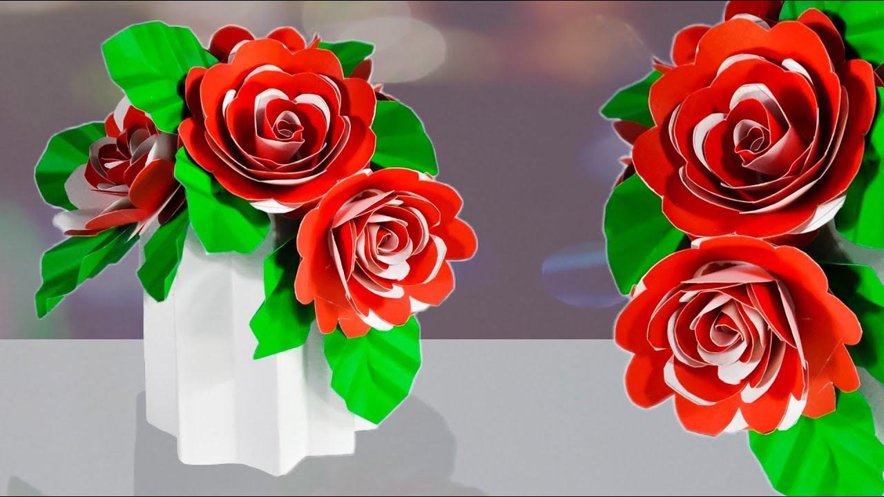 Cara Membuat Bunga Mawar Dari Kertas Origami Beautiful Flower With Paper