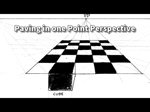 how to draw and paint square paving stones in one point perspective