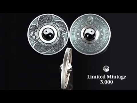 Exclusive Yin Yang silver coin features rotating charm