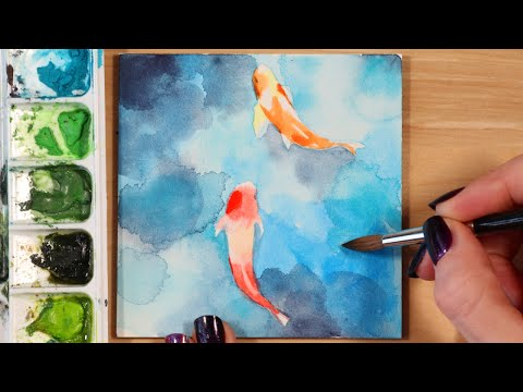 Easy Watercolor Painting Ideas - Koi Fish