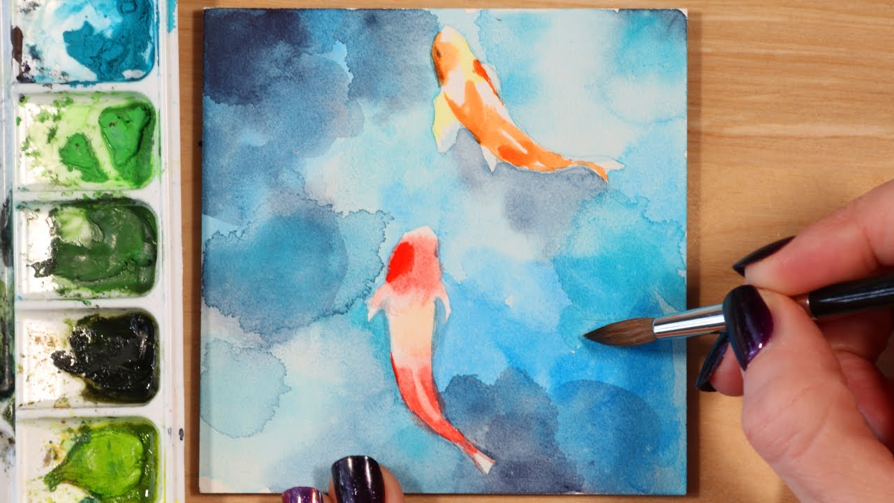 Easy Watercolor Painting Ideas Koi Fish Youtube