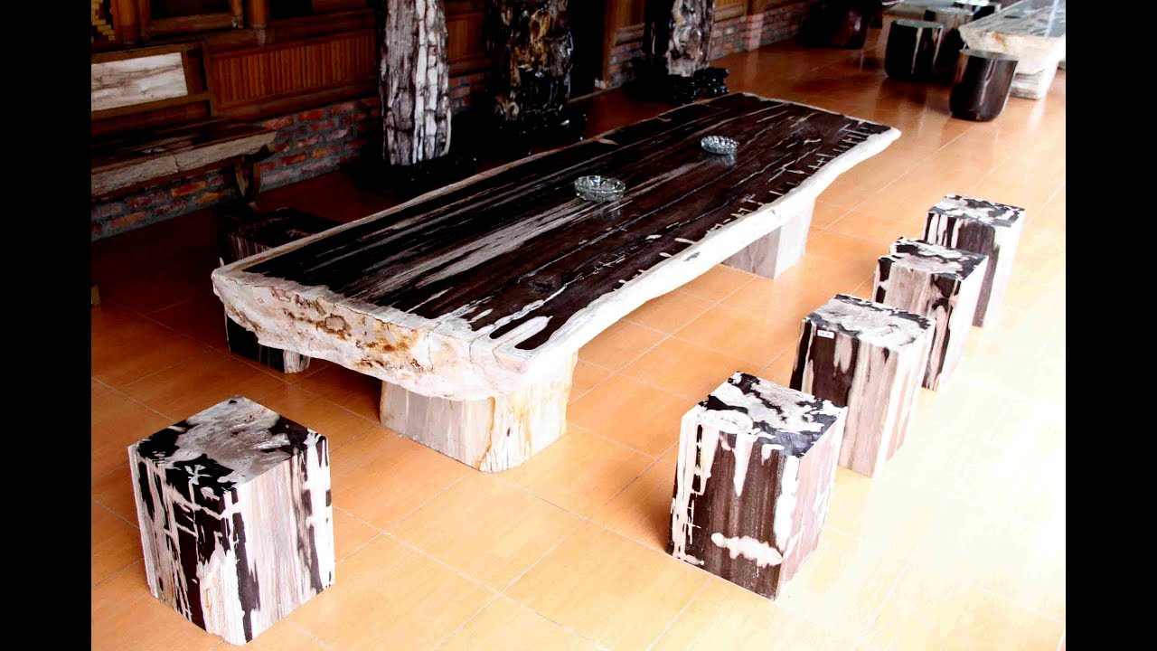 Petrified Wood Dining Table Stone Top YouTube - Wood and stone dining table