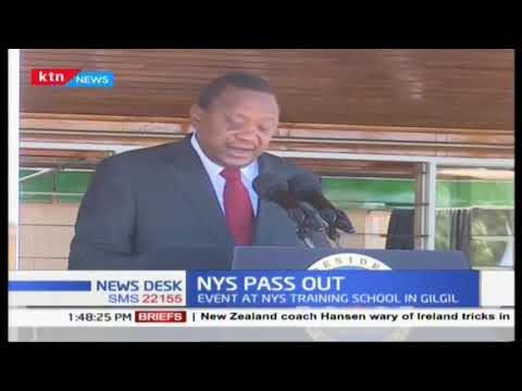 Uhuru Kenyatta Speaks During The Passing Out Event Held At The NYS Training School In Gilgil