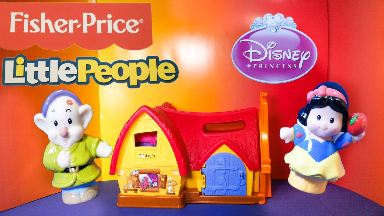 Fisher Price Little People Disney Princess new Snow White 7 Dwarf Cottage bed