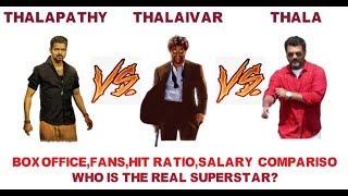 Rajini vs Vijay vs Ajith|thalaivar vs thalapathy vs thala |movie,hit,b.o,salary comparison|bigil