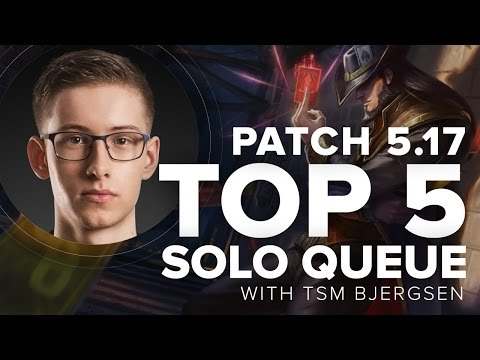 Top 5 Solo Queue Mid Laners by TSM Bjergsen Patch 5.17 - Season 5   League of Legends