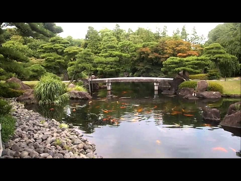 Japanese garden koi pond youtube for Japanese garden with koi pond
